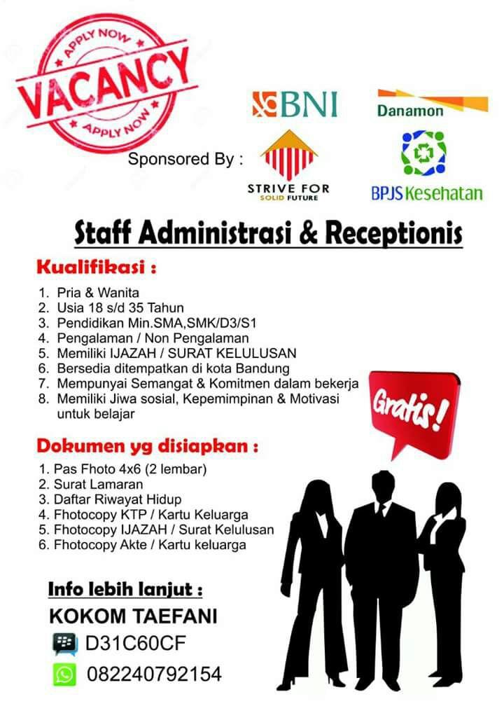 Lowongan Kerja Staff Administrasi Receptionis Lowongan Kerja Terbaru Lulusan Sma D3 Dan S1 Semua Jurusan 2021