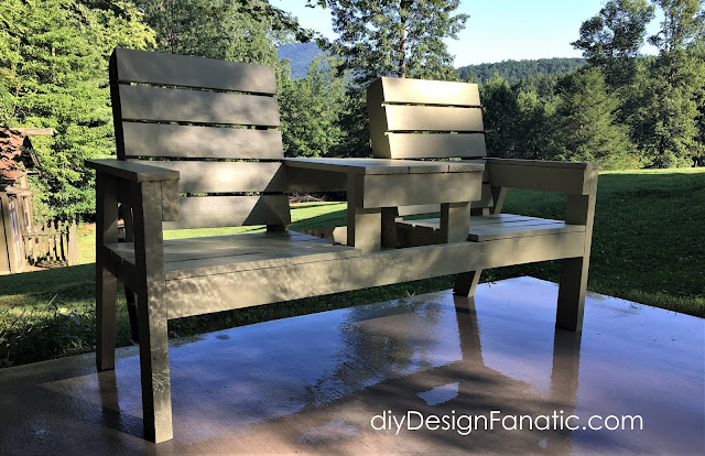 mountain cottage, 2 seat bench,  double chair bench, wood project