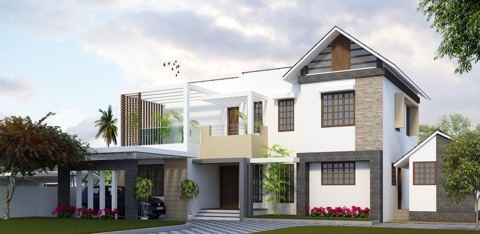 Contemporary Kerala home design new modern houses mix style
