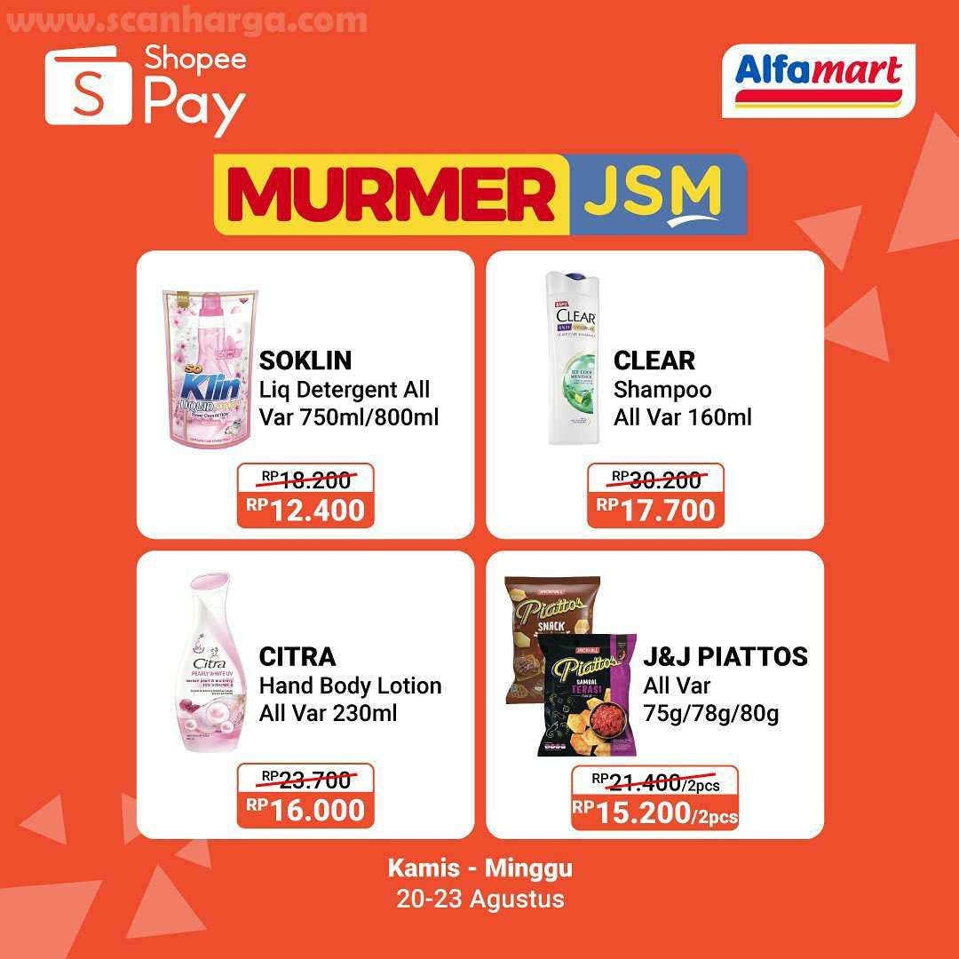 Promo Murmer JSM Alfamart bayar pakai ShopeePay Periode 20 - 23 Agustus 2020