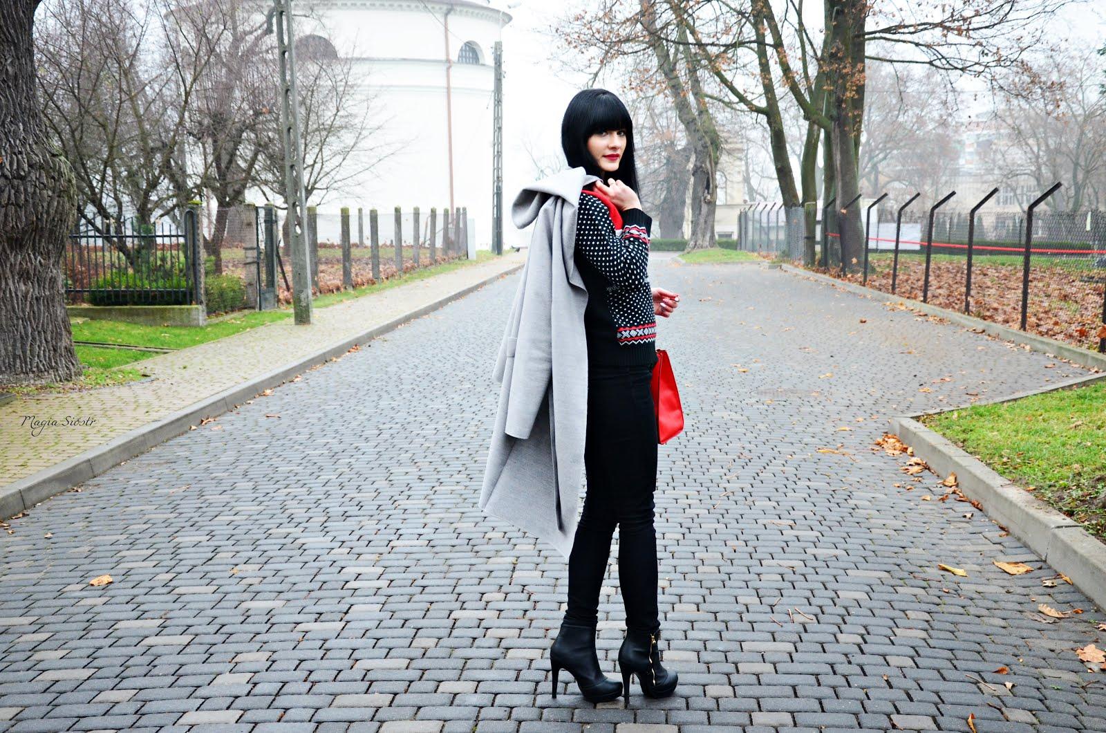 jesień, jesienna stylizacja, świąteczny sweter, norweskie wzory