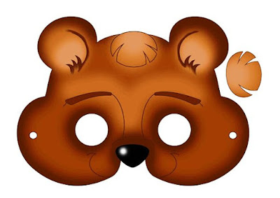 Máscaras de oso color para imprimir