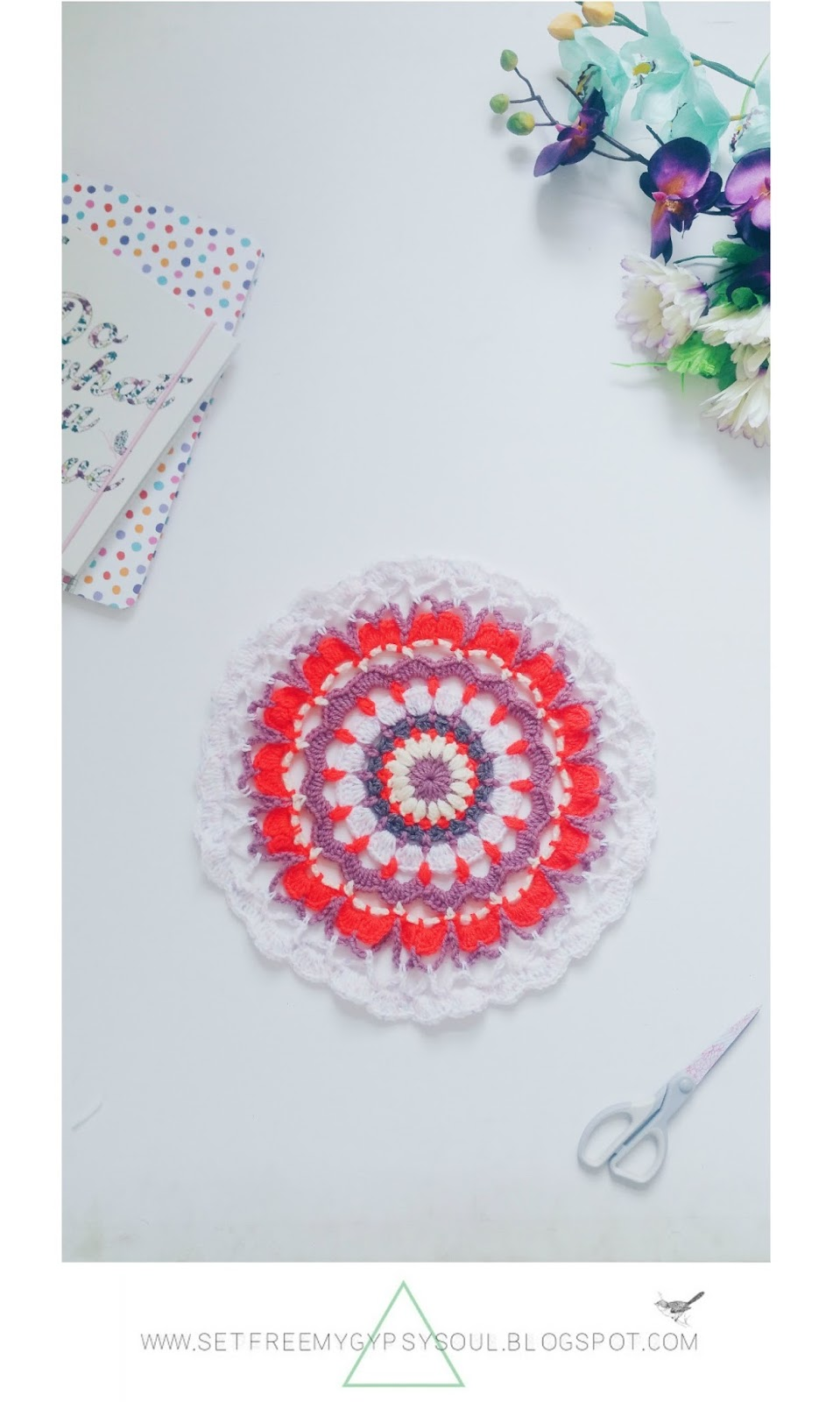 free mandala crochet pattern bohemian neon spring rug