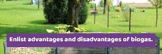 Enlist advantages and disadvantages of biogas.