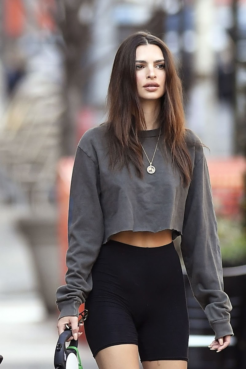 Emily Ratajkowski Clicked  in Yoga Shorts Out with Her Dog in New York 20 Mar -2020