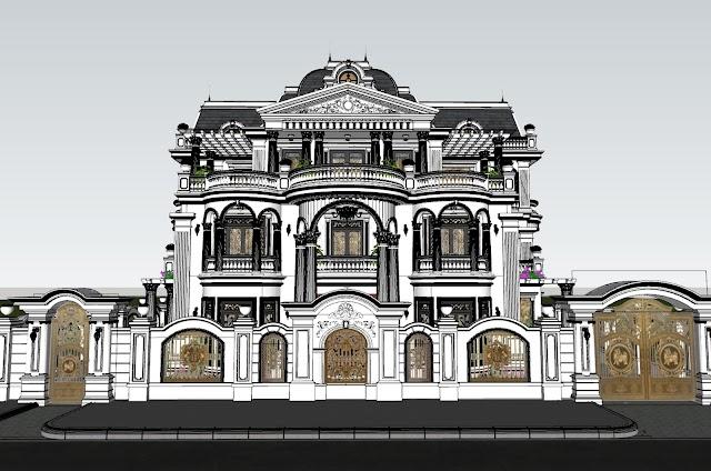 Villa siêu cổ điển kèm file 3d SU tải miễn phí