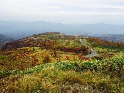 紅葉にそまる草津方面の峠