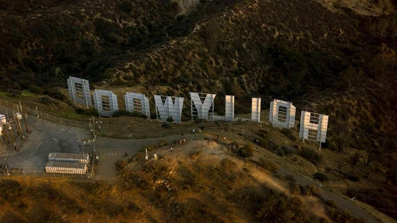 """Los Angeles, United States. Photo of the inscription """"Hollywood"""". Back and top view"""