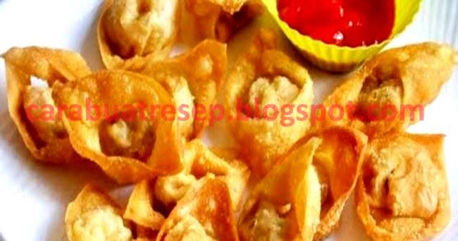 membuat kerupuk pangsit goreng isi ayam resep masakan indonesia Resepi Telur Ikan Goreng Tepung Enak dan Mudah