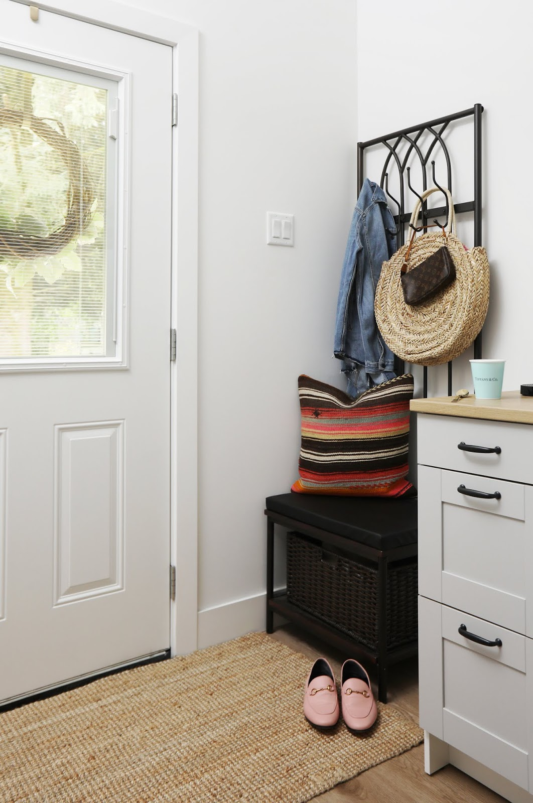 Small home coat rack + storage bench