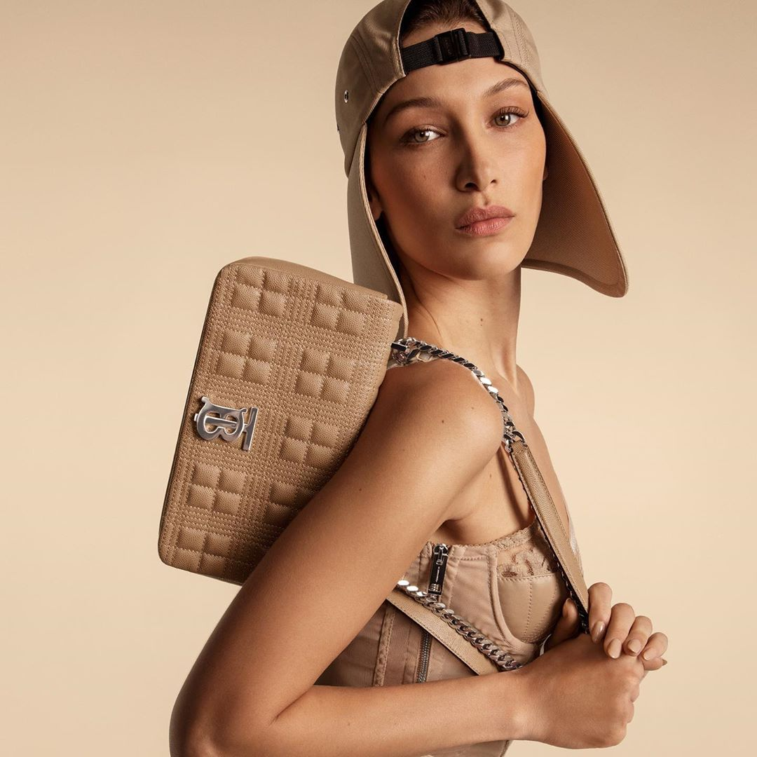 Bella Hadid models the Lola handbag for the Burberry Spring/Summer 2020 campaign