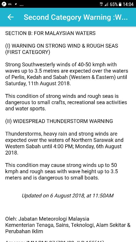 Amaran angin kuat di utara semenanjung Malaysia