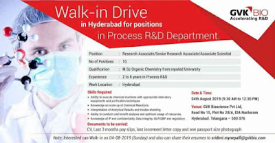 GVK Biosciences - Walk-in interview for Research Associate/ Sr. Research Associate/ Associate Scientist on 4th August, 2019