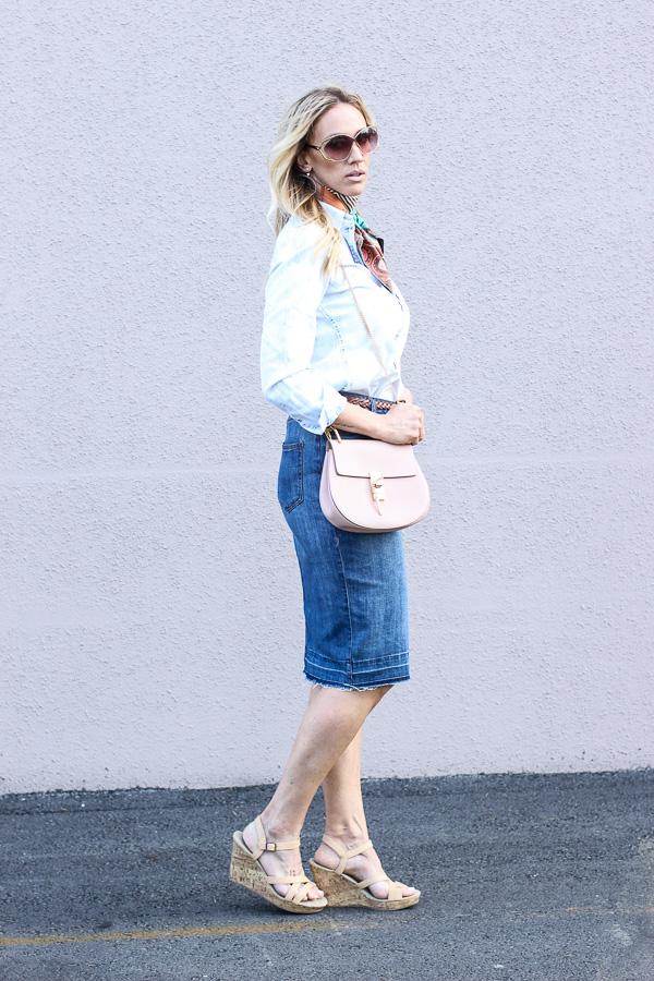 denim on denim skirt wedges parlor girl