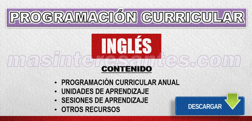 programación unidades y sesiones de aprendizaje de inglés