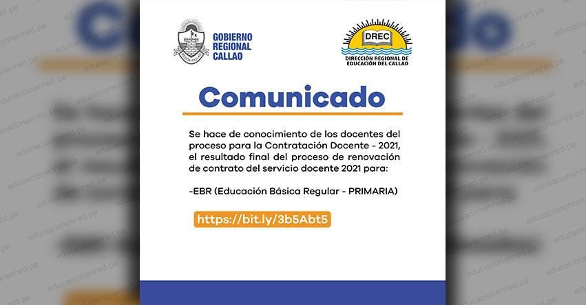 DRE Callao: Resultado final del Proceso de Renovación de Contrato Docente 2021 (EBR PRIMARIA)