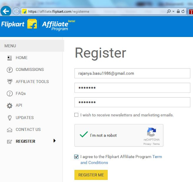 register on flipkart