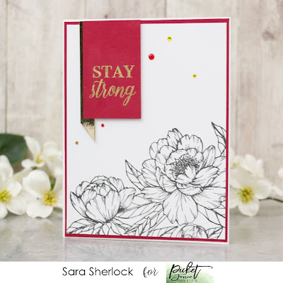 Picket Fence Studios, Wild Peonies, Clean and Simple cards