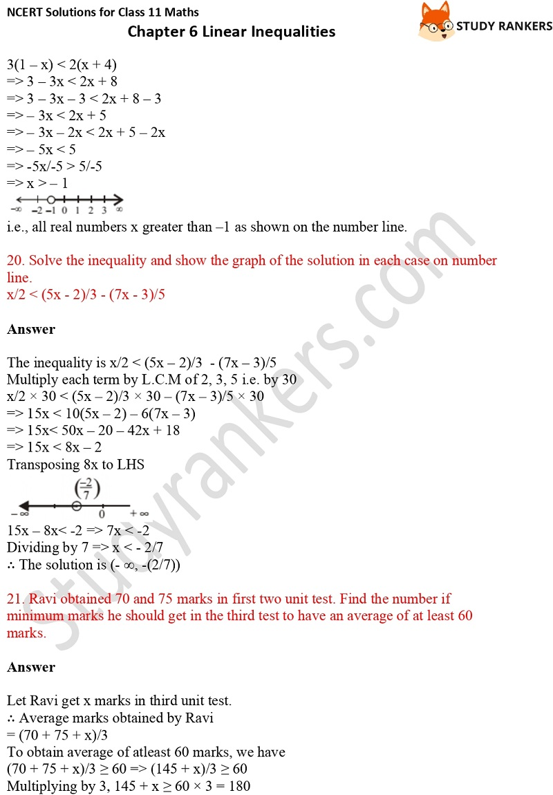 NCERT Solutions for Class 11 Maths Chapter 6 Linear Inequalities 7
