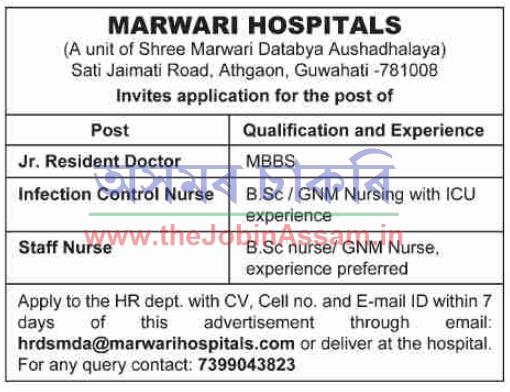 Marwari Hospitals Guwahati Recruitment 2020