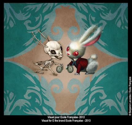 Benjamin Lacombe ilustración Conejo Alicia 2