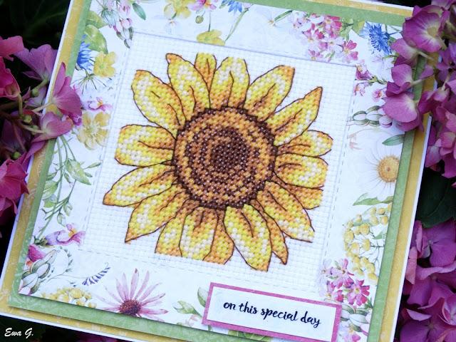 Imieniny miesiąca - kartka ze słonecznikiem