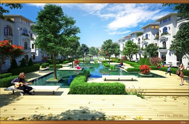 Khuôn viên cảnh quan khu biệt thự Louis City