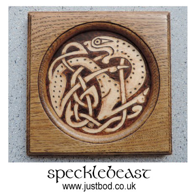 Anglo Saxon pyrographed design wall plaque