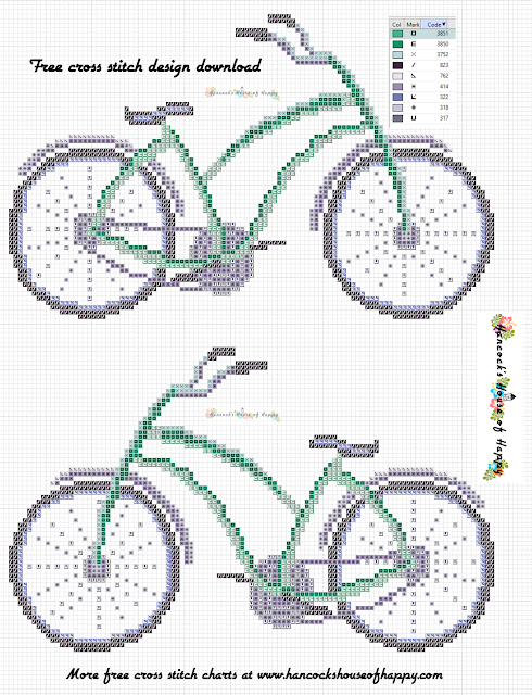 Free Bicycle Cross Stitch Pattern for Cross Stitching Beginners