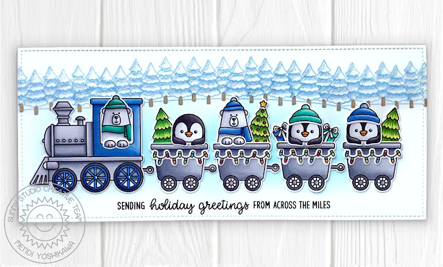 Sunny Studio Sending Greetings From Across The Miles Polar Bears & Penguins Slimline Train Card (using Holiday Express & Winter Scenes Stamps, Frilly Frames Retro Petals Dies)