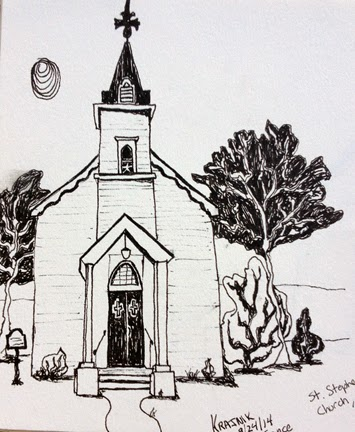 Pen And Ink Sketch Of The Little Country Church