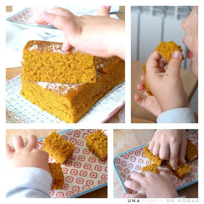 bizcocho de zanahoria en microondas, niños comiendo