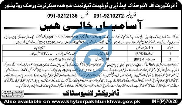 Jobs in Directorate of Livestock and Diary Development Department 2020