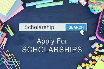 "Graphic shows a search toolbar with the word ""Scholarship"" Typed in. Underneath it reads, Apply for Scholarships"
