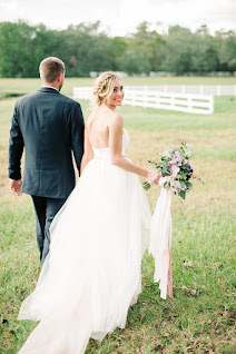 bride looking back photo