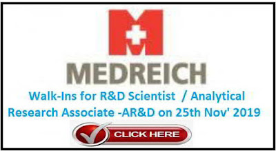 Medreich Limited walk-in interview for R&D / AR&D on 25th Nov' 2019