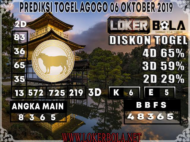 PREDIKSI TOGEL AGOGO LOKERBOLA 06 OKTOBER 2019