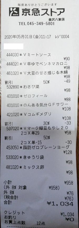 京急ストア 金沢八景店 2020/5/1 のレシート