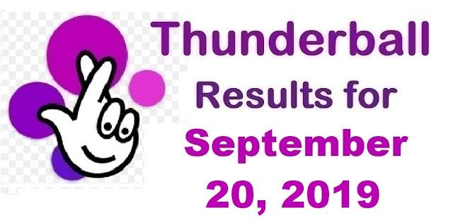 Thunderball results for Friday, September 20, 2019
