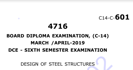 Diploma Design of Steel Structures old Question Paper c14 Civil March/April-2019
