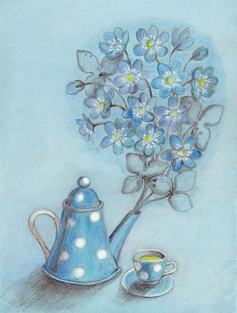 teapot blue spring flowers colored pencil drawing teacup spotted dotted