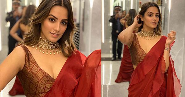 anita hassanandani stunning in saree zee rishtey awards 2019