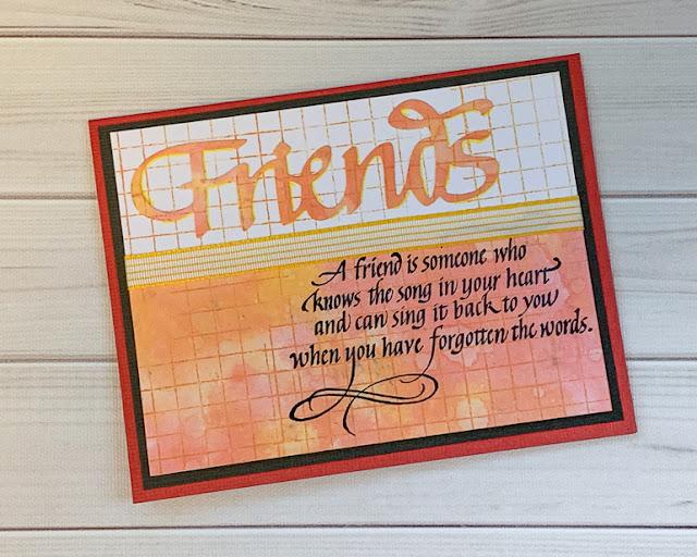 Friends card / Quietfire Design stamps / Elizabeth Craft Designs die / card by Kim Gowdy