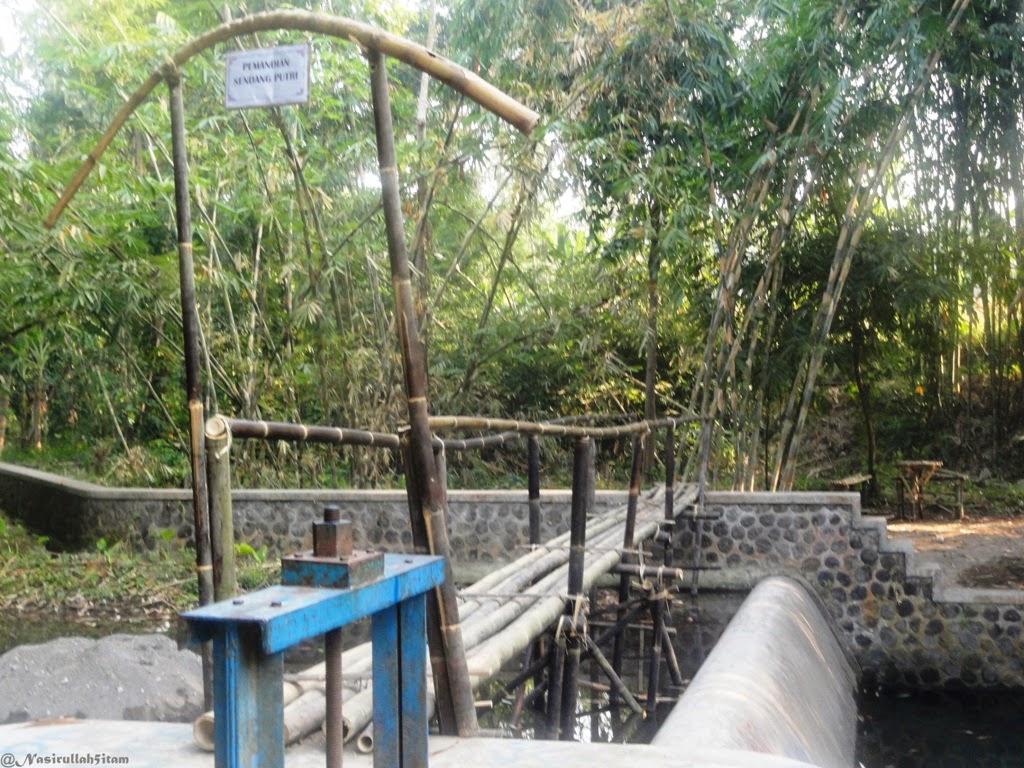 Jembatan kecil terbuat dari bambu