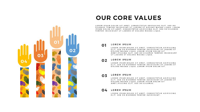 Free PowerPoint Templates for Our Values Presentation with 4 Hands and Number options