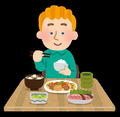和食を食べる白人の男性のイラスト