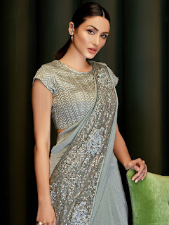 Indian Party Wear Grey Lycra Pre Stitched Fancy Saree with Sequins Work Front Design