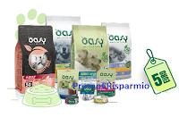 Logo Concorso ''Oasy dammi il cinque'': vinci gratis soggiorni e forniture per il tuo Pet + buono sconto