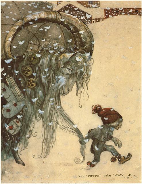 "John Bauer illustration ""Yule Goat, 1917"""