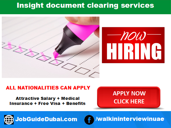 Insight document clearing services career for Receptionist and Accountant and Counselor and Telecaller and Admin cum HR and Office boy job in Dubai UAE